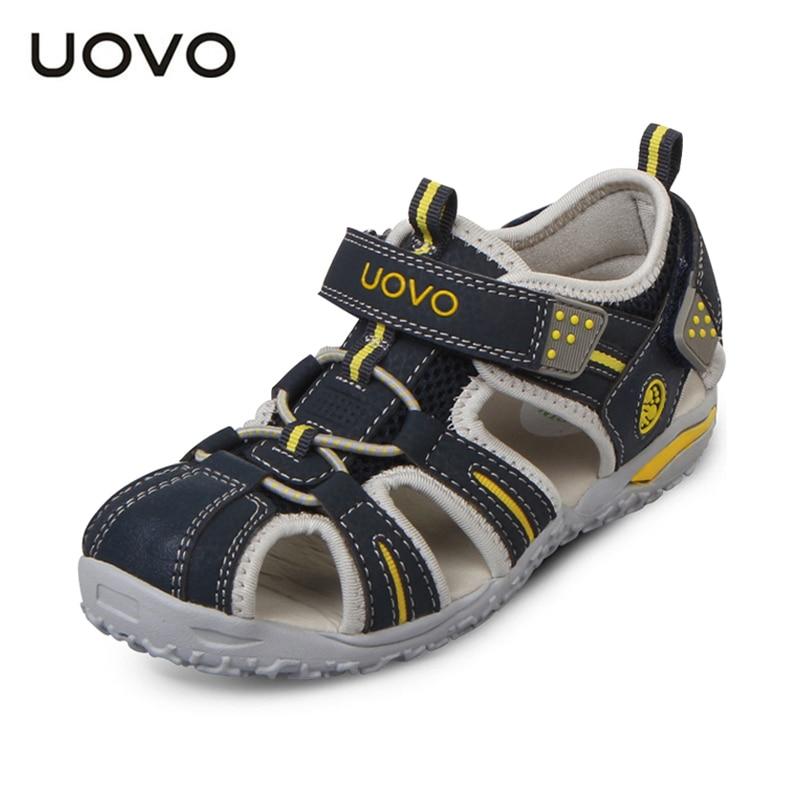 UOVO العلامة التجارية 2021 الصيف الشاطئ الأحذية الاطفال مغلقة اصبع القدم طفل الصنادل الأطفال الأزياء مصمم أحذية للبنين والبنات #24-38