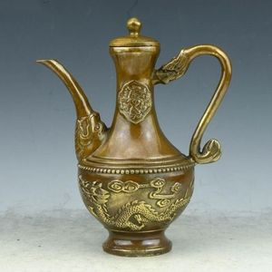 Chinese brass hand-carved fine Lucky Dragon Teapot