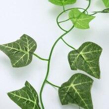 Guirlande de feuilles de lierre vertes 2.5M artificielles   Faux feuillage, fleurs en rotin et fleurs artificielles pour décoration de maison