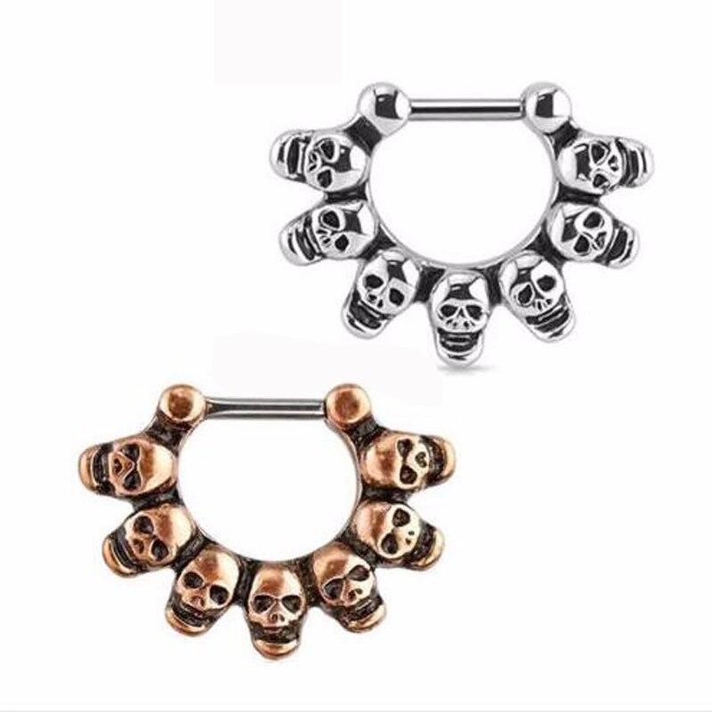 1 Piece 14G 1.6mm Stainless Steel Hoop Rings Eyebrow Skull Tragus Earring Skulls Nose Ring Body Piercing Jewelry