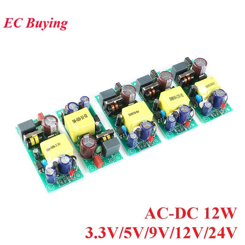 Módulo convertidor de fuente de alimentación de interruptor aislado de AC-DC 3,3 V/5 V/9 V/12 V/24 V 12W módulo reductor de AC-DC Módulo de placa de circuito impreso