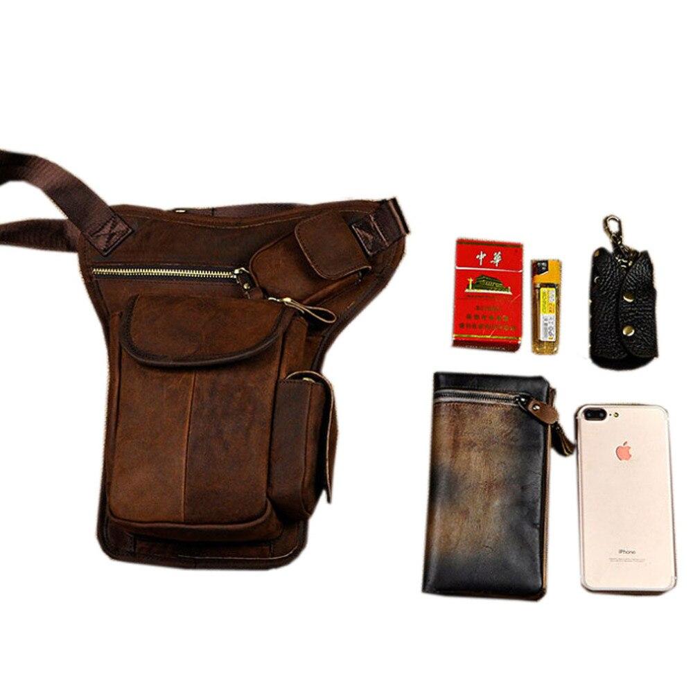 Men's Cowhide Leather Drop Leg Bag Fanny Pack Waist Thigh Belt Hip Bum Travel Cross Body Messenger Casual Shoulder Bag