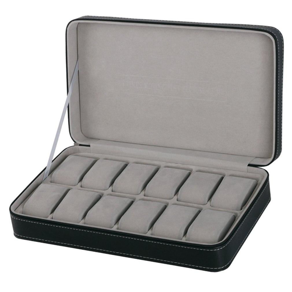 Protable 12 slots relógio caixa de armazenamento caso com zíper multi-funcional pulseira relógios exibição caixão relógios titular caixão 2019