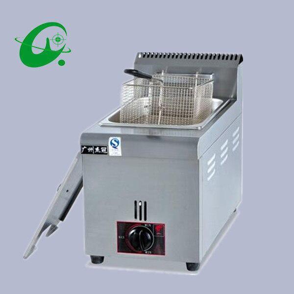 Vertical de temperatura do gás fritadeira 6L batatas fritas forno pato contador top fritadeira cilindro de gás explosão