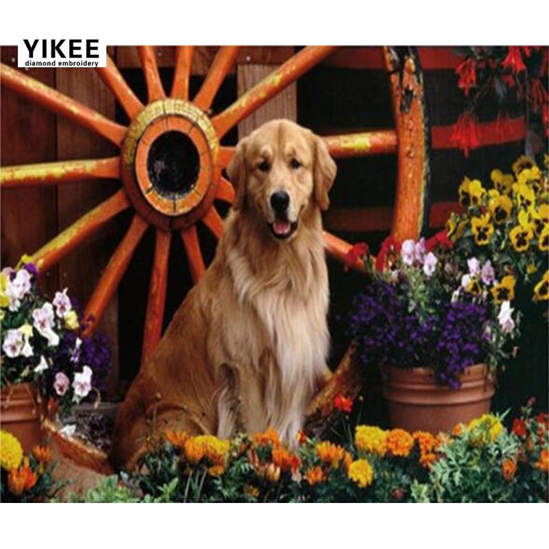 YIKEE Diamond Painting Dog 5d diy Rhinestones Pictures Cross Stitch Mosaic House    c196