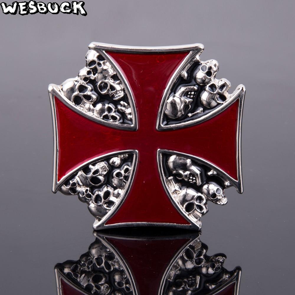 Cool Skull Buckles WesBuck Brand Crossing Belt Buckles Metal for Man Women Western Buckles Metal Cowboy Fivela with Silver Plate