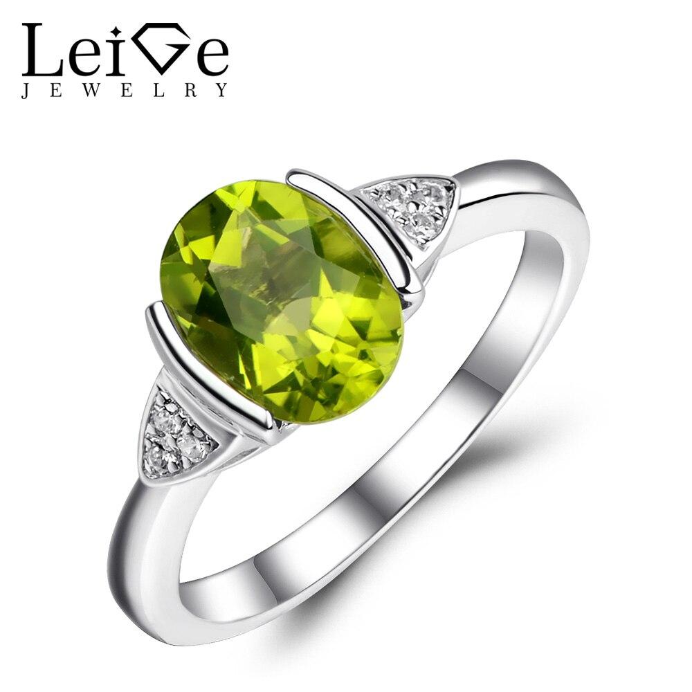 Leige Jóias Anel Oval Cut Verde Peridot Gemstone Natural De Noivado Aniversário Anéis de Prata para As Mulheres 925 De Agosto Birthstone