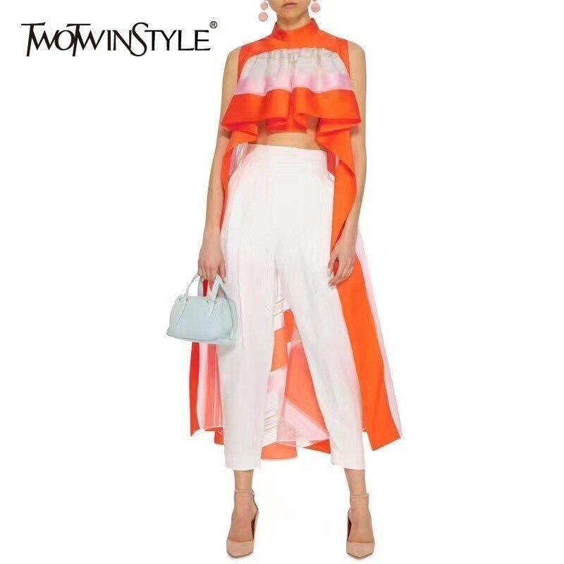 Блузка TWOTWINSTYLE Женская, в полоску, ассиметричная, без рукавов, с оборками, весенняя, 2020