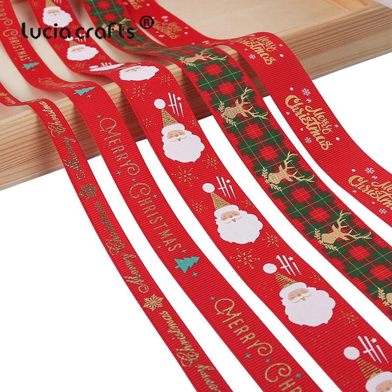 5 ярдов/партия 10 мм/15 мм/25 мм полиэстер напечатание рождественское Grosgrain ленты DIY рождественские вечерние упаковочная Декор поставки Материал X0203