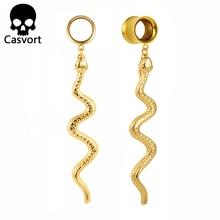 Casvort Piercing Rvs Gold Snake Dangle Oordopjes En Tunnels Lichaam Sieraden Schroef Oor Meters Paar Selling Expander