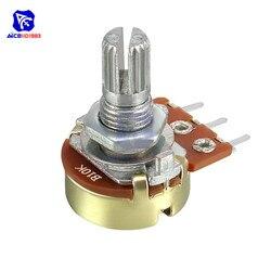 1 peça wh148 potenciômetro resistor 10 k ohm com porca & arruela 3 pinos linear atarraxamento potenciômetro rotativo b10k para arduino