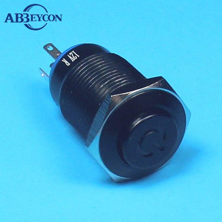 تاي 1677Z 3V ~ 220V عالية فلوش رئيس أسود الطاقة شعار مضيئة 5pin دفع زر التبديل