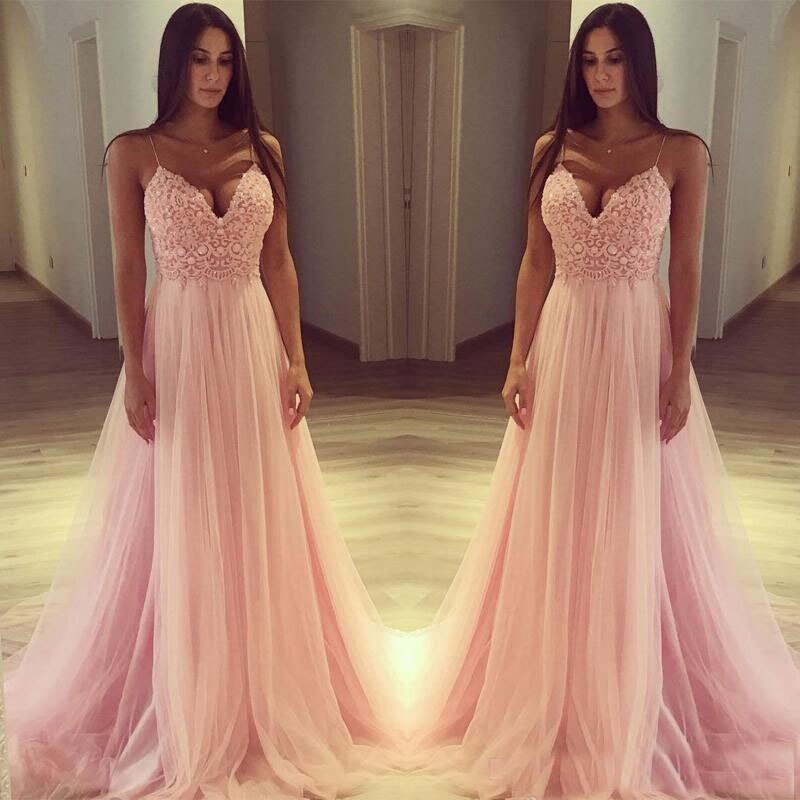 Vestido de tul rosa con tirantes finos para dama de honor, traje...
