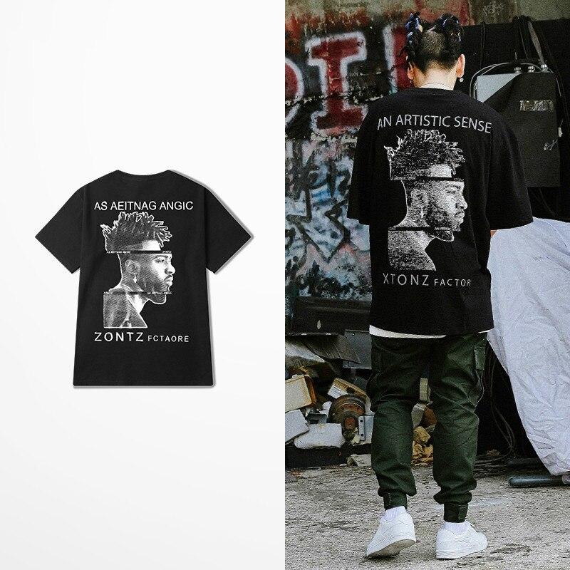 Como Aeitang Anic Zontz Fctaore camiseta impresa hombres tendencia callejera marca camisetas de manga corta masculino Kanye West Coast Top Tee
