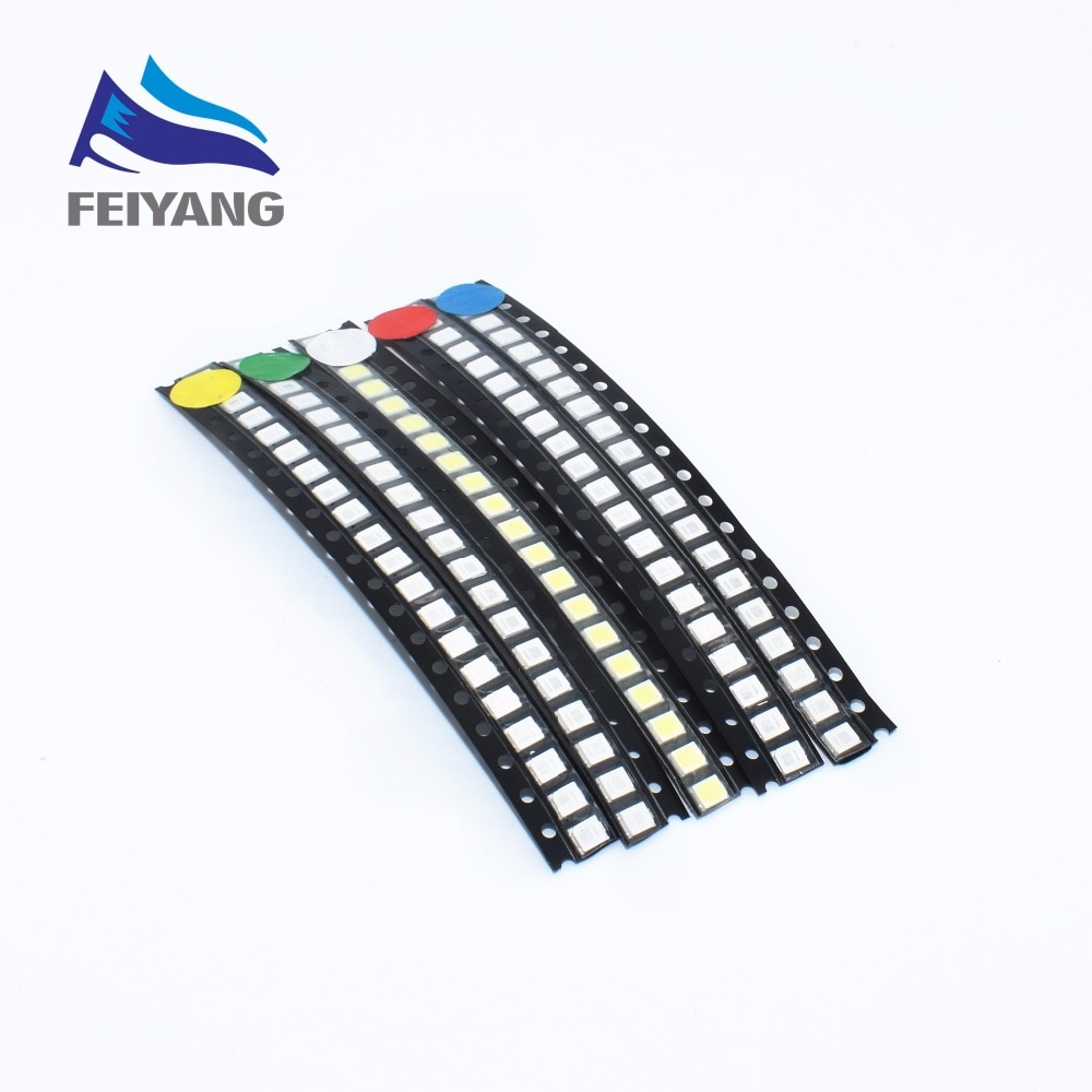 500 Uds Super brillante 3528 SMD 1210 LED rojo/azul/verde/amarillo/Blanco/blanco cálido LED diodo 3,5*2,8*1,9mm