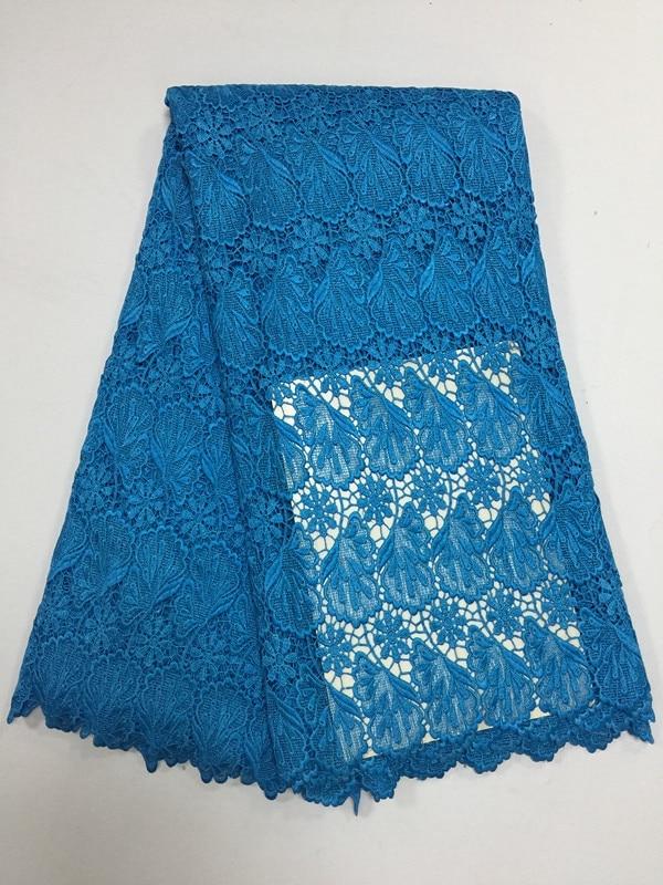 Tela de encaje de malla Africana jacquard agua pesada soluble Nigeria moda guipure tela de encaje suizo para vestido azul