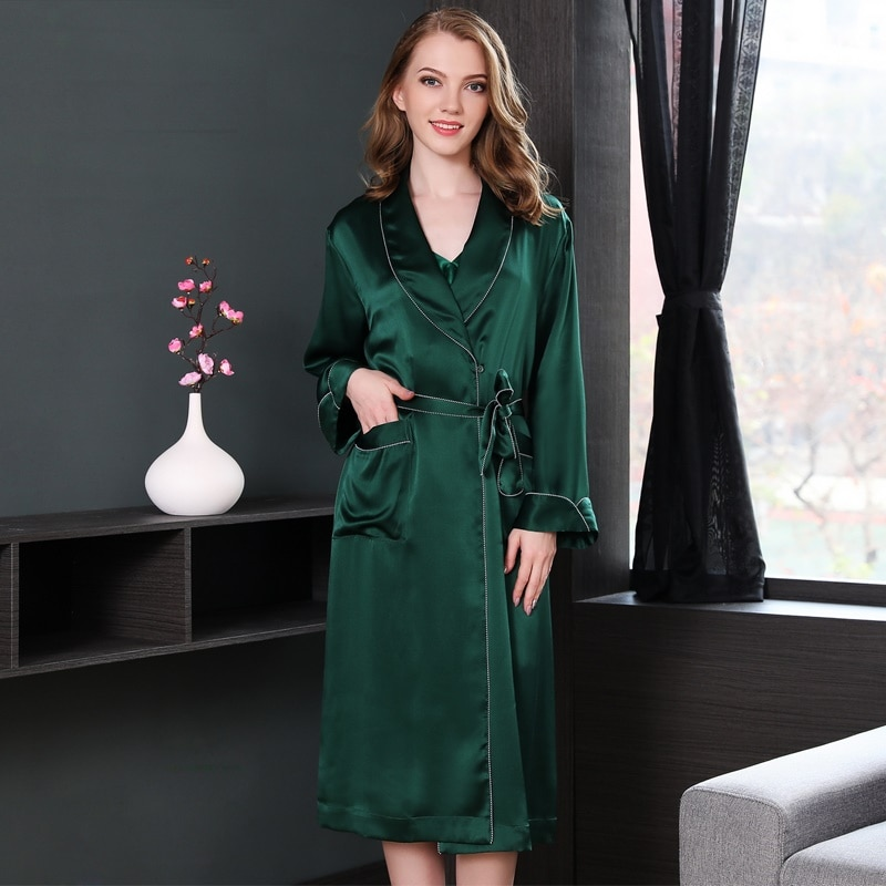 100% silk stain robes summer spring women 2019 plus size woman sexy black green mid-calf length long sleeve silk robe homewear