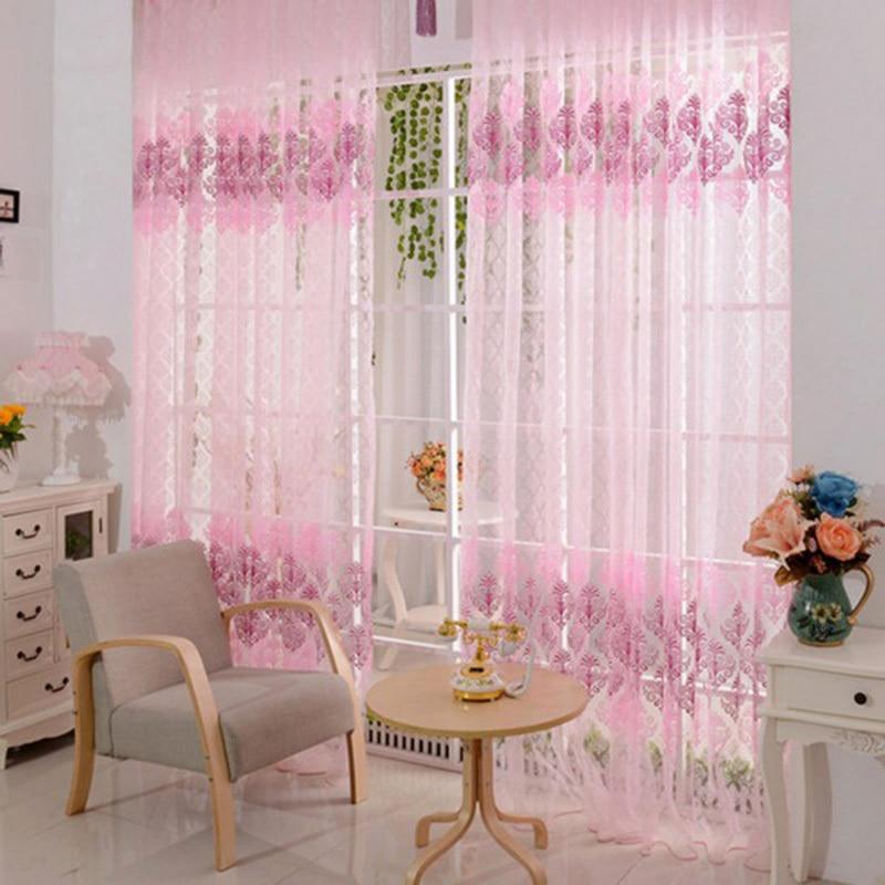 1 Uds cortina de 200*100cm Rosa Floral gasa de cenefa Cortinas para sala de estar cortina de tul para ventanas Cortinas Rideaux
