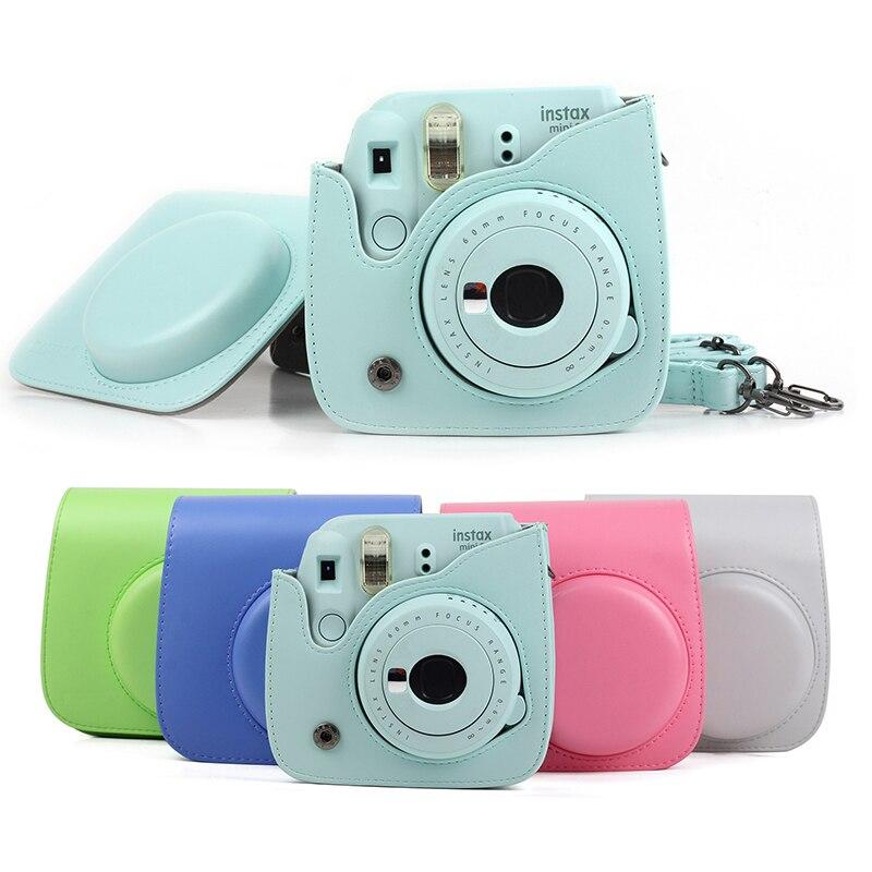 Funda para cámara instantánea de PU con correa para Fujifilm Instax Mini 8/+ 9/8 flamenco rosa/azul/blanco/verde