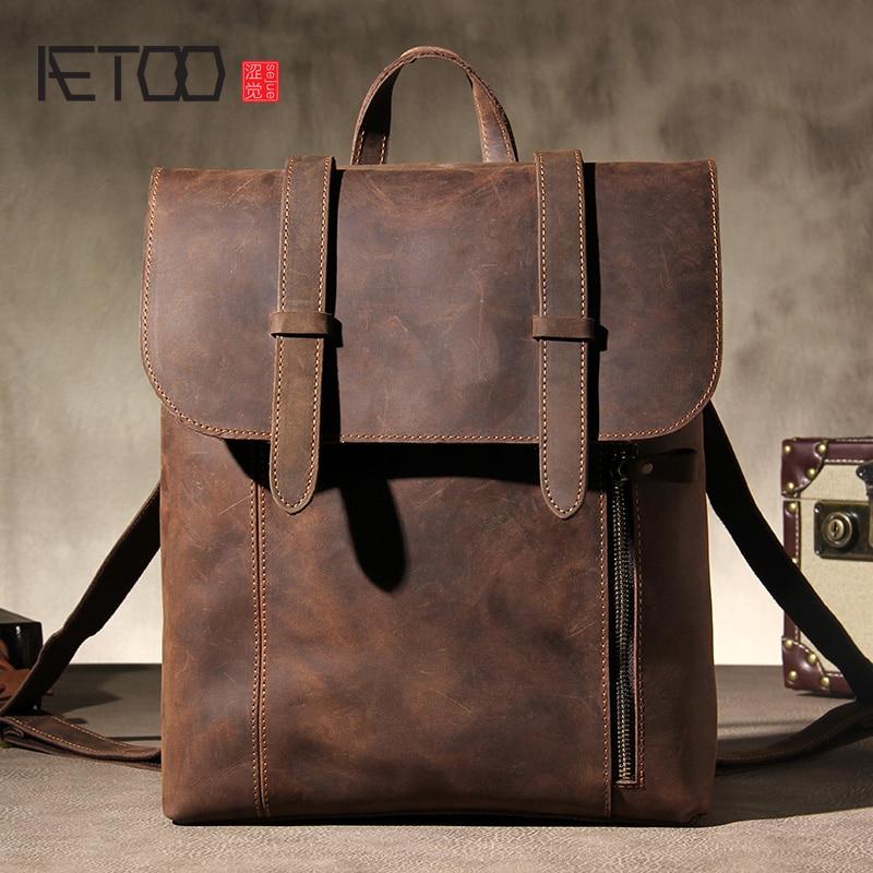 AETOO Mad horse leather shoulder bag, vintage handmade mens backpack, one-shoulder diagonal travel computer bag