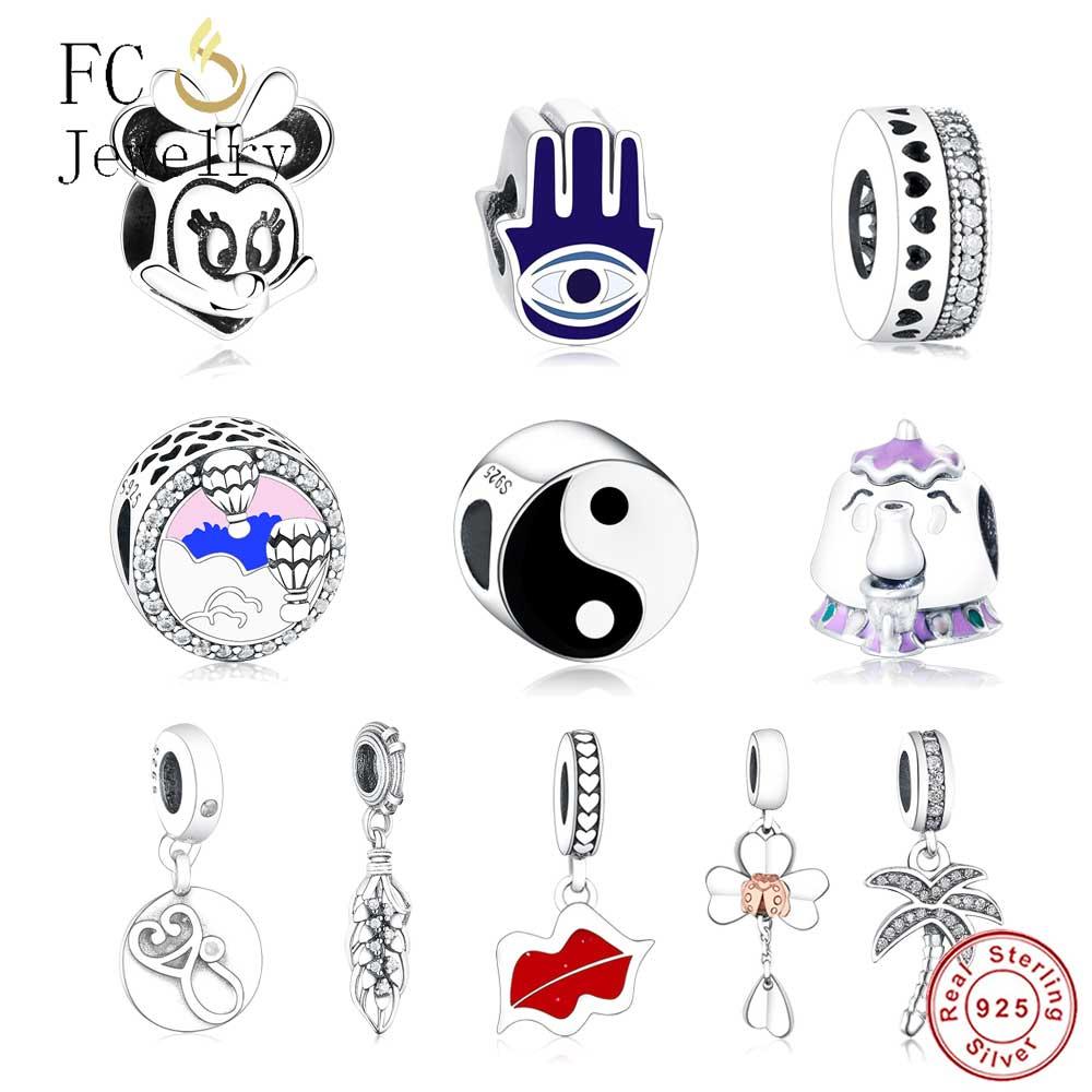 Genuine 925 Sterling Silver Yin Yang Tai Chi Enamel Charm Bead Fit Orignal Pandora Charm Bracelet European Authentic Berloque