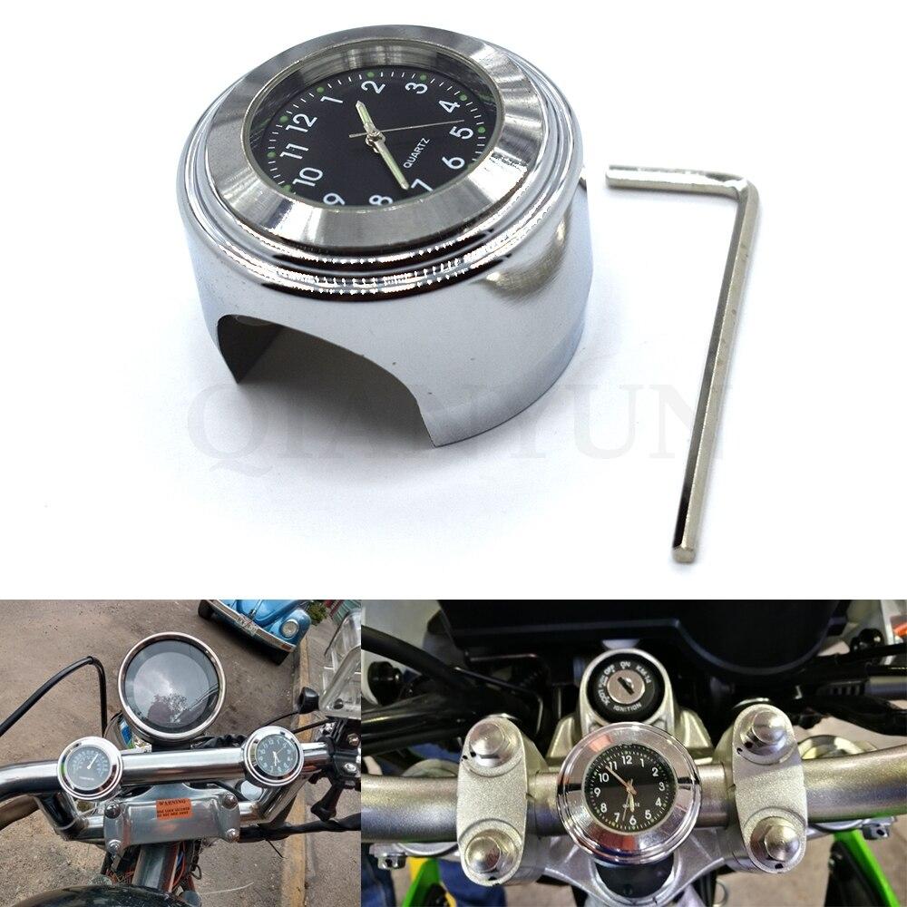 Waterproof 7/8 1 Inch Motor Motorcycle Handlebar Mount Dial Clock Watch Universal for kawasaki suzuki honda yamaha KTM Ducati