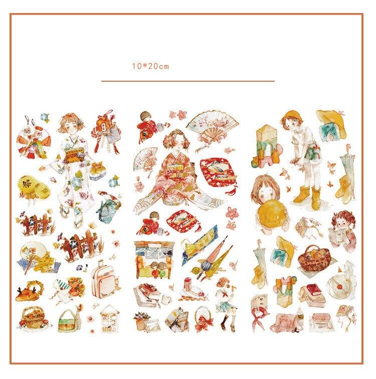 3 pçs/lote kawaii tóquio menina diário adesivos decorativos conjunto scrapbooking vara etiqueta diário japonês papelaria álbum adesivos
