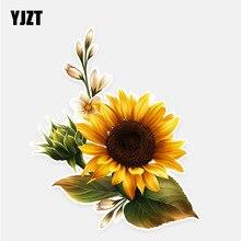 Yjzt 11.5*13.7 cm girassol decoração flores adesivos de carro alta qualidade personalizado colorido 11a0725