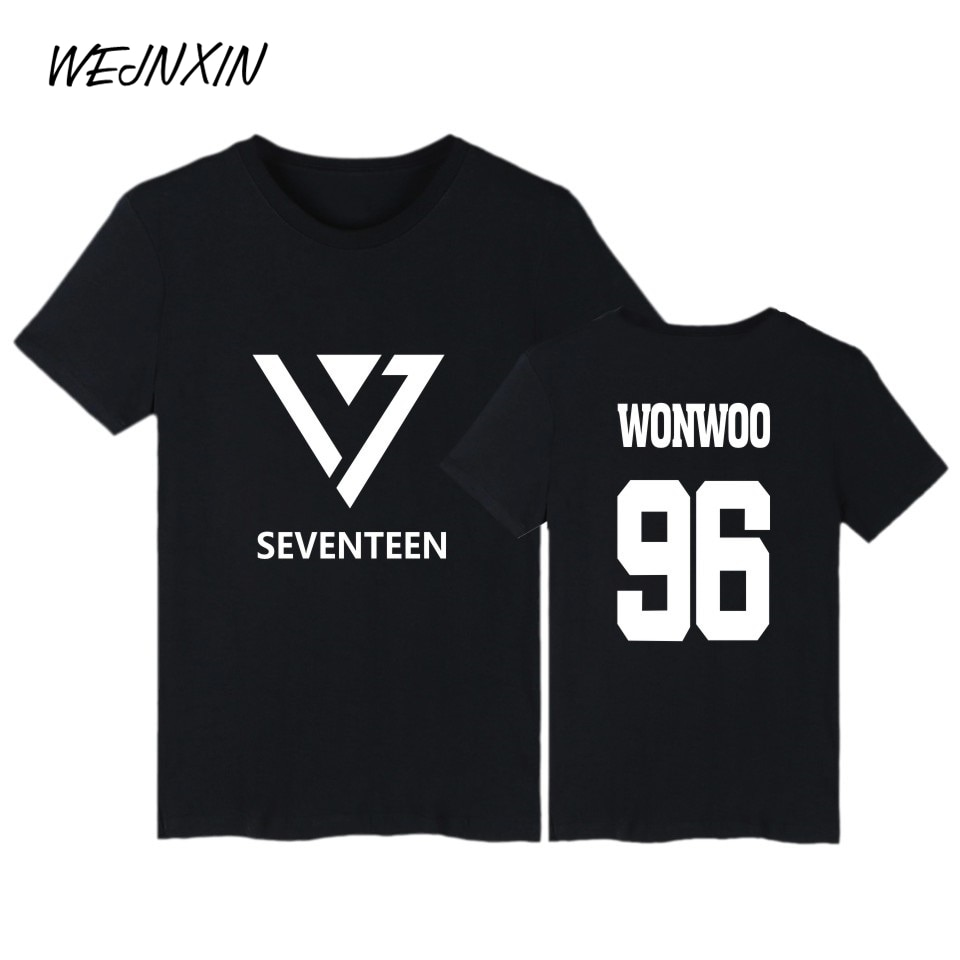 Camiseta de algodón VAGROVSY KPOP Seventeen para mujer, Camiseta estampada con nombre de miembro de concierto, camiseta pop de talla grande Coreana de verano