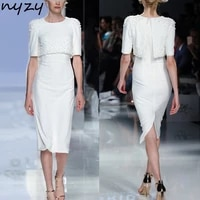 nyzy m38 cocktail dress white cape sleeves sequins beaded vestidos coctel formal dress for wedding party guest wear 2019