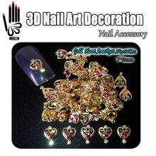 Beauty!!10pcs/Lot Gold Heart Amethyst Crystal Alloy Nail Art 3D Alloy Nail Decoration Glitter Rhinestone Nail Art Decorations
