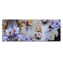 Biały kwiat magnolii 80X30 Diy diament haft cross stitch diament malarstwo diamentowe zestawy do mozaiki obraz dżetów