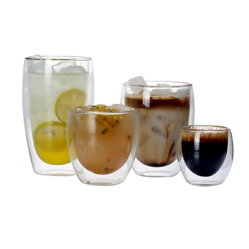 Conjunto de 2 Caneca De Café de Vidro Resistente Ao Calor Parede Dupla Copo De Chá Copo para copos de café expresso 80/250/ 350/450ml