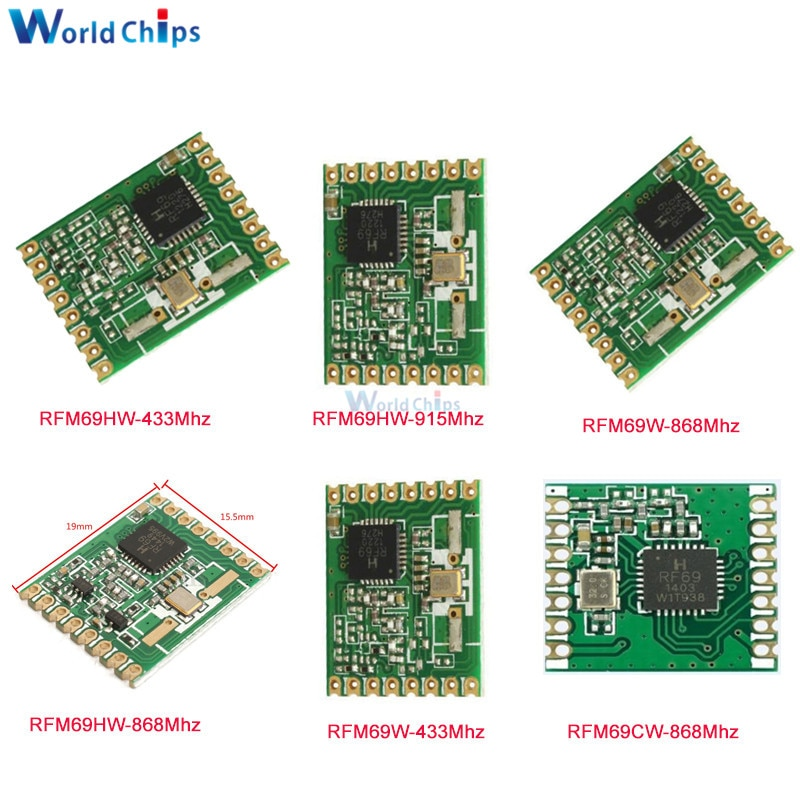 Diymore RFM69W RFM69CW RFM69HW 433Mhz 868Mhz 915Mhz módulo transceptor RF módulo FSK inalámbrico módulo transceptor de interfaz SPI