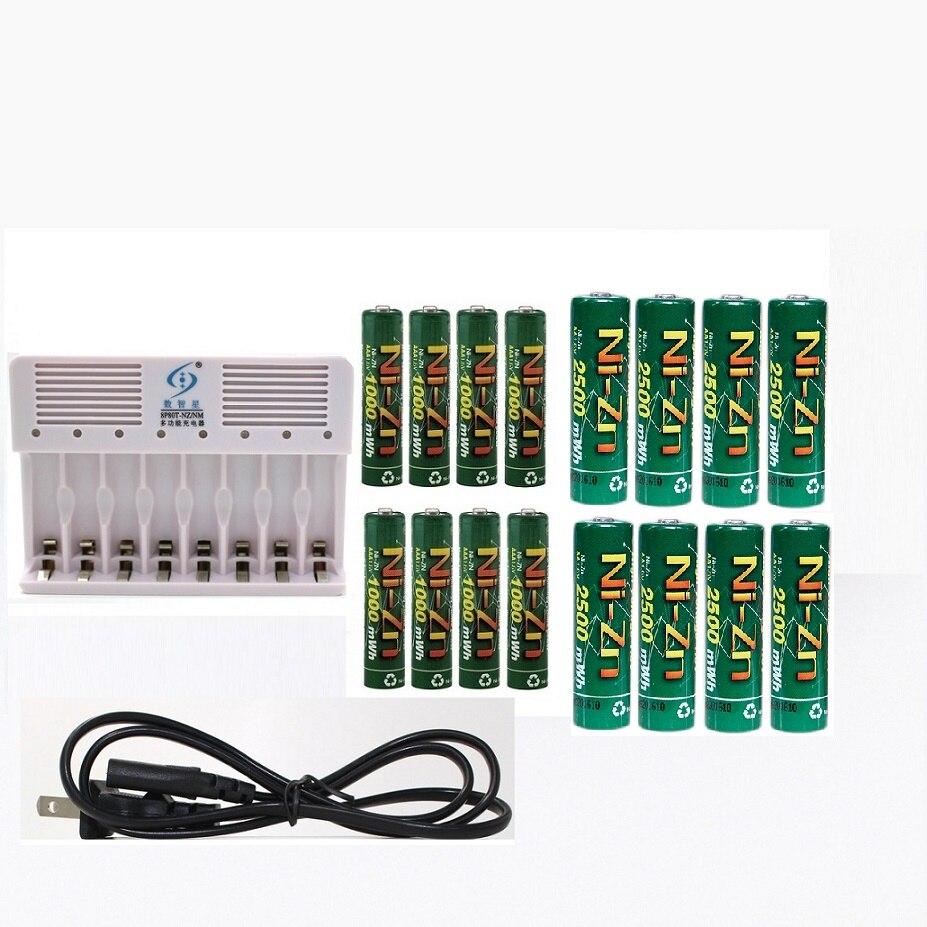 16 Uds (8AA + 8 PSAAA) 1,6 v aa 2500mWh batería recargable nizn ni-zn batería recargable + 8 ranuras aa aaa NiMH NiZn cargador inteligente