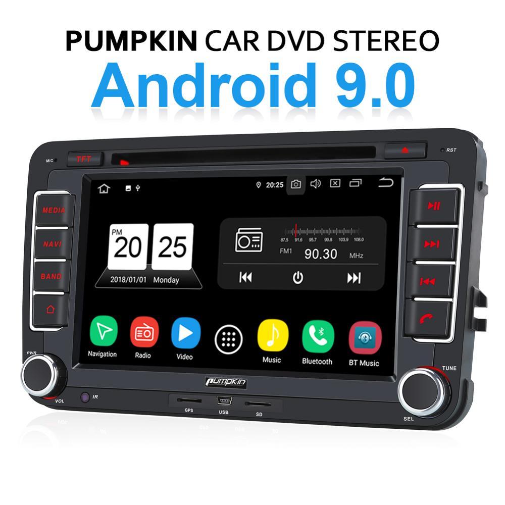 Calabaza Android 9,0 coche estéreo de Audio Quad-core 2 Din7Autoradio navegación GPS para Volkswagen/Skoda Golf/Wifi OBD2 DAB + FM Radio