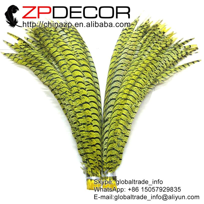 ZPDECOR 32-36 pulgadas (80-90 cm) 10 unids/lote calidad Premium teñido cebra amarilla Faisán de Amherst para mujer colas Centro plumas