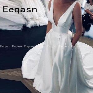 Custom Made Vestido de noiva A Line Satin Wedding Dress with Pockets White Ivory Beach Long Train Bridal Gowns