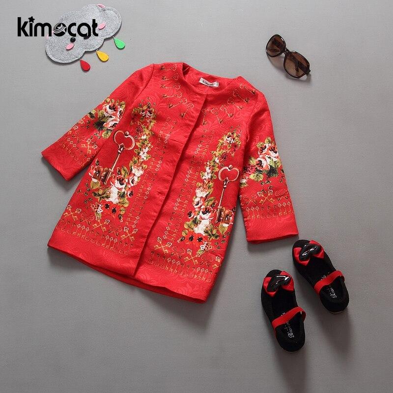 Kimocat-معطف الشتاء للأطفال ، ملابس خارجية مطرزة بالزهور ، سترة واقية للأطفال ، ملابس احتفالية ، الكريسماس ، أحمر