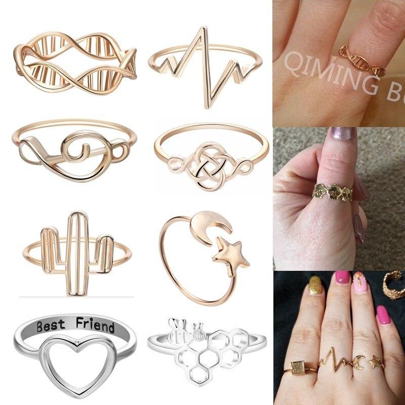 QIMING 2018 barato anillos para mujer abeja amor corazón ADN cráneo anillo para las mujeres de moda de la joyería de Boho Regalo de Cumpleaños anillo del dedo del pie