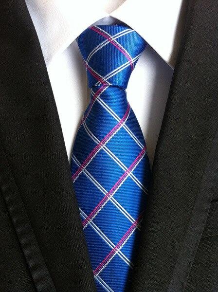 Fashion Classic Grid Necties Men Fashion Accessories Geometric Jacquard Woven Classic Corbatas Business Silk Tie Wedding Tie недорого