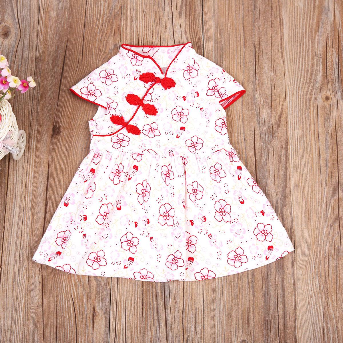 Bonita do Verão Infantil Baby Girl Floral Cheongsam Qipao Chinês Vestido Roupas