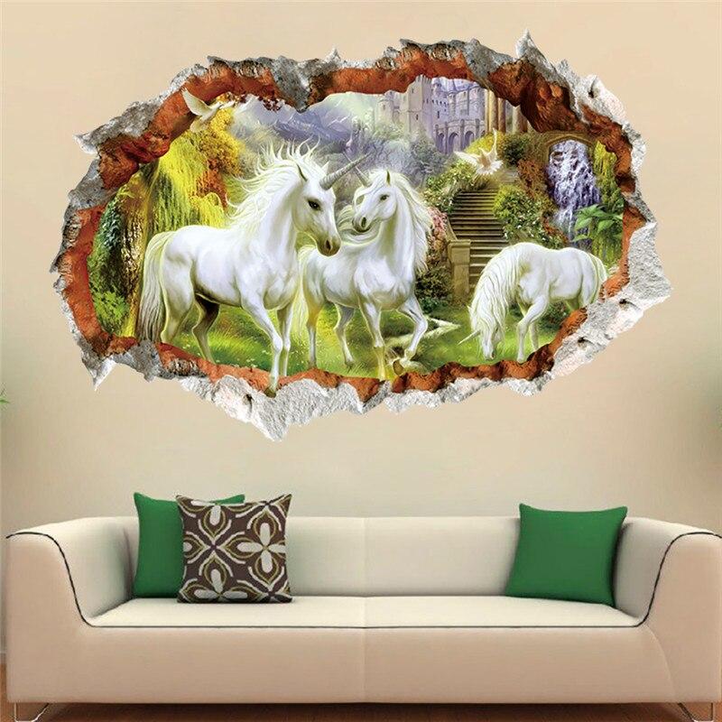 Vinilo de caballo blanco con efecto 3d de dibujos animados para habitación de niños dormitorio Decoración Para sala de estar pared calcomanías arte Mural regalo