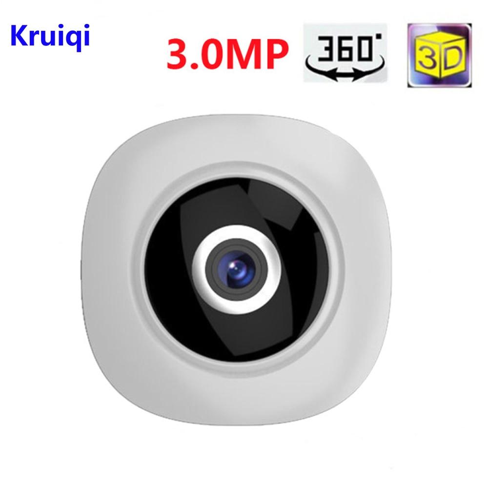 Kruiqi 360 Degree Wi-fi IP Camera FishEye HD 3.0MP Smart Panoramic IPC P2P Wireless IP Fisheye Camera 3MP Security Wifi Camera