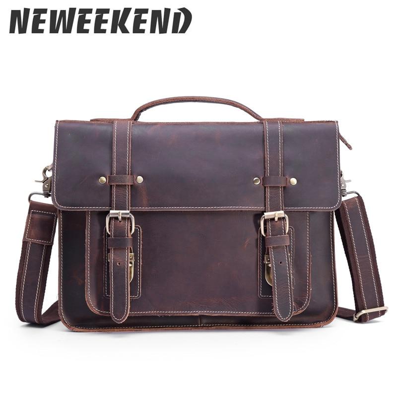 كريزي هورس جلد أصلي للرجال Vintage ريترو Crossbody حقيبة ساعي الكتف الرافعة حقيبة يد حقيبة محفظة 1159