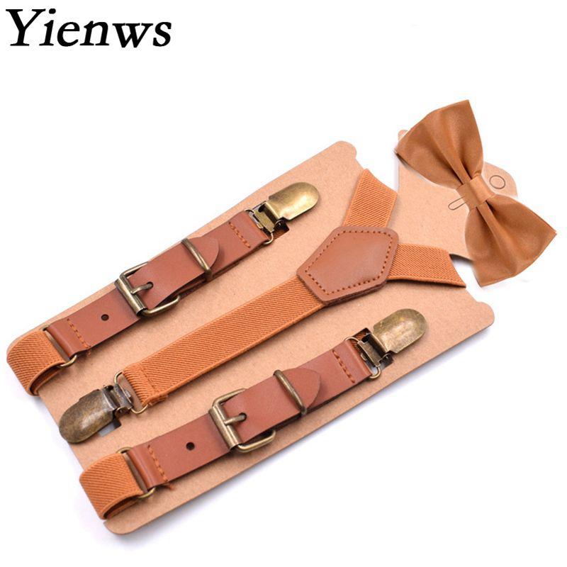 Tirantes Yienws con lazo para niños, tirantes marrones Vintage con pajarita para niños, tirantes para bebés, niños, 75cm YiA056