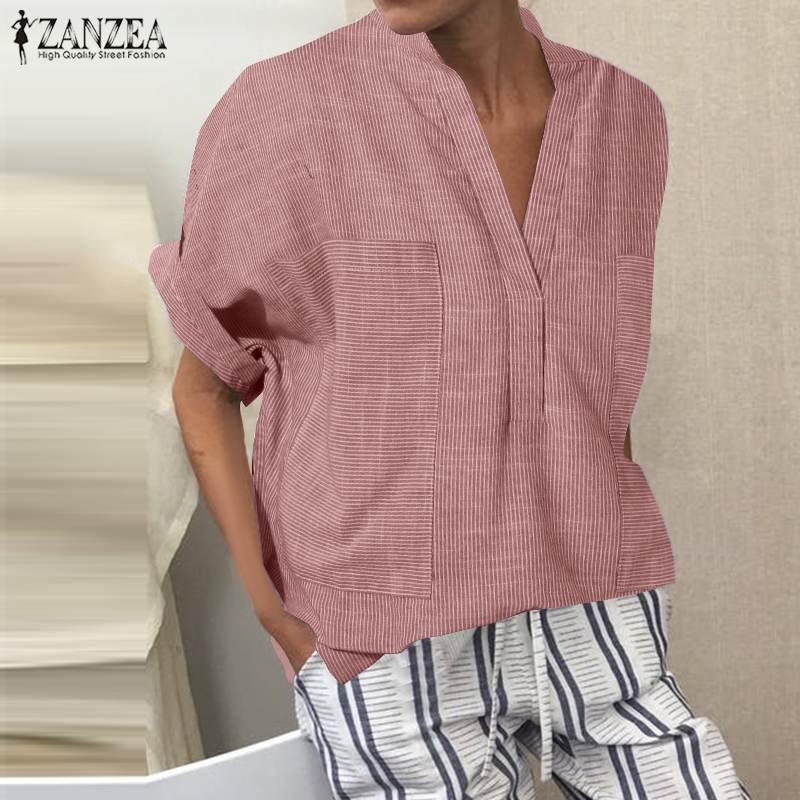 2020 ZANZEA mujeres de manga corta de verano blusa Casual de algodón túnica Tops señoras Sexy V cuello camisa Blusas de talla grande Chemiser Mujer