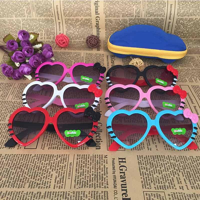 Детские солнцезащитные очки в форме сердца бант пластиковые темные очки детское платье фото реквизит 2 шт./лот