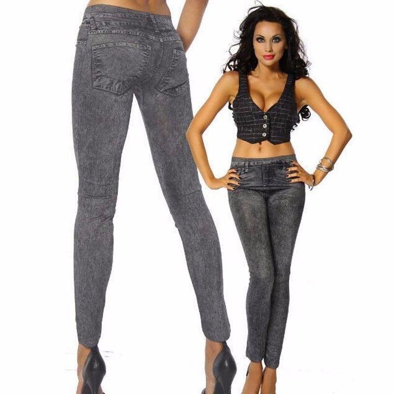 Mallas ajustadas para mujer, pantalones vaqueros de cintura alta, pantalones de lápiz elásticos CA