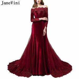 JaneVini Luxury Arabic Burgundy Evening Dresses with Detachable Train Long Sleeves Appliques Beaded Mermaid Velvet Evening Gowns